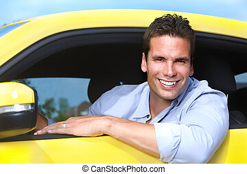 Man car driver - Happy young man driver in a new car