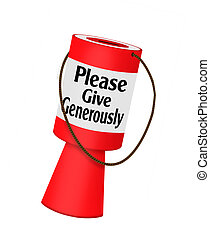 Donations - charity fundraising collecting box - Red.