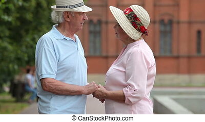Senior affection - Tilt up of charming elderly people...