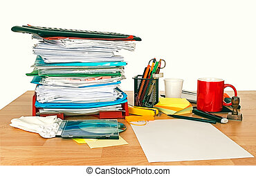 Untidy desk - With administration, painkillers and coffee...
