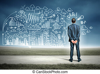 Businessman and business sketch - Back view image of young...