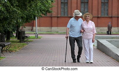 Seniors on a walk - Senior couple enjoying a walk in the...