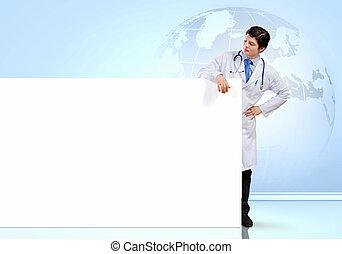 manlig, baner, läkare