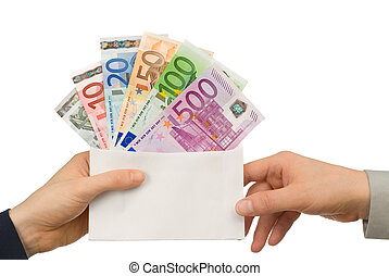 Taking money in an envelope - Isolated studio shot of Euro...