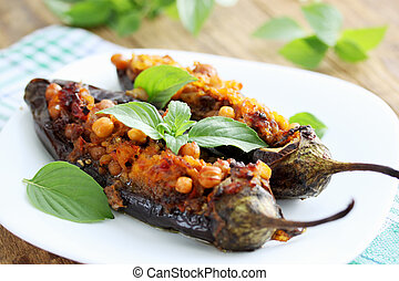 Baked stuffed - Baked eggplant stuffed with minced meat,...