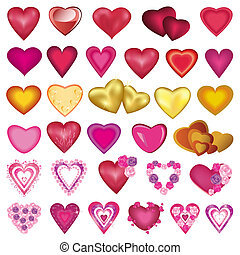 Big set of different colorful hearts for Valentines Day,...
