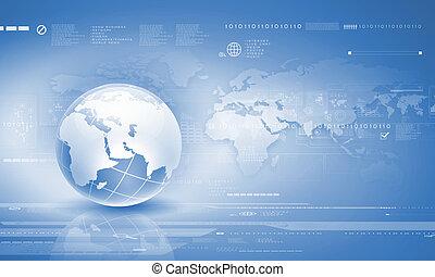 Globalization concept - Blue digital image of globe....
