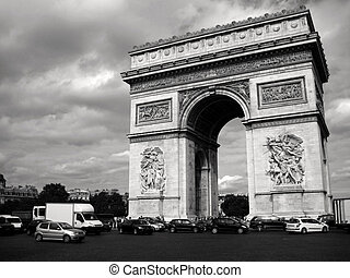 Arc de Triomphe with traffic - B&W photo of the Arc de...