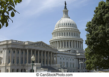 Capitol building and dome - Capitol building on a blue sky ,...