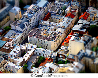 Tilt-shift view of Parisian buildings - Aerial, tilt-shift...