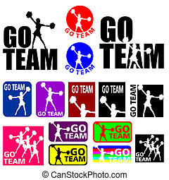 Cheerleader Go Team Designs - Silhouettes illustrations of a...