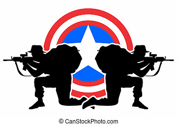 Defense shield - American soldiers - Symbol and Concept of...