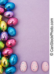Easter Border - Foil covered Easter eggs making a border on...