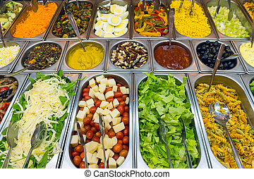 A variety of salads at a buffet