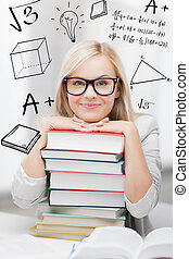 student with stack of books and doodles - education and...