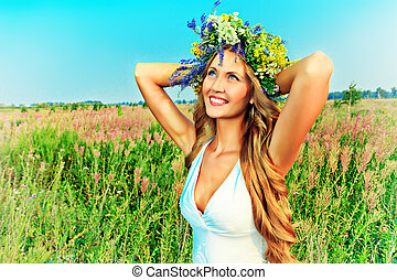 feel free - Portrait of a romantic smiling young woman in a...