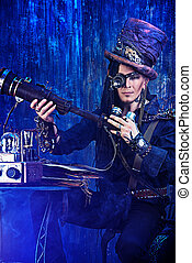 male inventor - Portrait of a steampunk man over grunge...