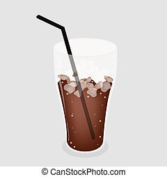 Iced Coffee or Iced Tea on Grey Background - Coffee Time, A...