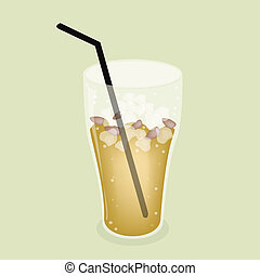 Lemon Iced Tea With Straw on Green Background - Soft Drink,...