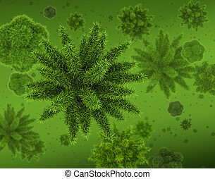 Bacteria virus microworld concept, group of spiny...