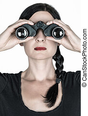 searching - beautiful girl with a spyglass