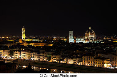 Florence night aerial cityscape. Panorama view from Michelangelo park