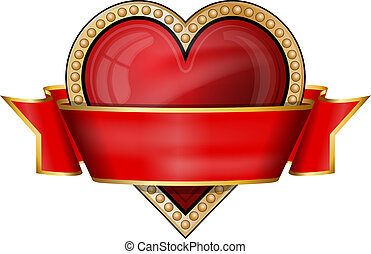 Hearts. card suit icons with ribbon - Vector illustration of...