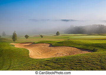 Summer on the empty golf course - Summer golf course in the...
