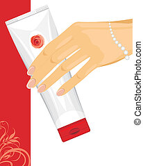 Cream tube in female hand. Vector illustration