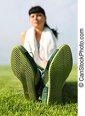 sole of shoes - green sole of shoes on grass, tired...