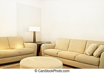 Beige textile sofas - Living room with two beige textile...