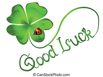 good luck. background with clover and ladybug