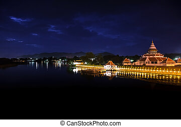 Kanchanaburi night. - Night view of the river, Kanchanaburi...