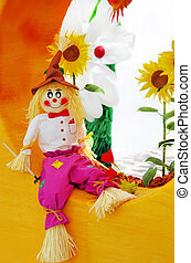 Colorful scarecrow at garden of fantasy