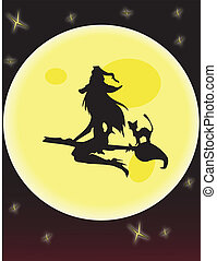 Witch and Moon Vector