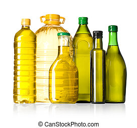 Olive oil bottles on white background. With clippibg path