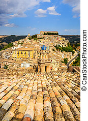 Vertical view of beautiful village Ragusa in Sicily
