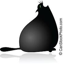 Big fat cartoon cat gaping vector