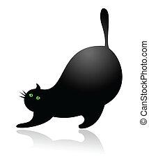 Big fat cartoon cat stretching vect