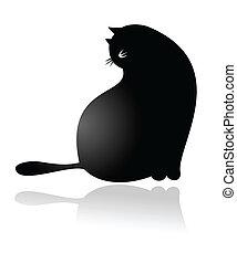 Big Fat cartoon Cat Sitting, vector
