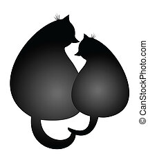 Purring Spring Cats in love vector