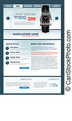 Watch Store Web Template, vector