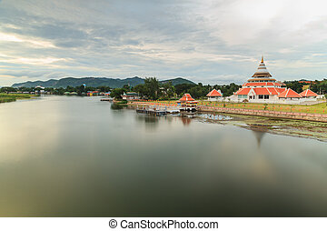 Kanchanaburi Thailand. - Landscape along the banks of the...