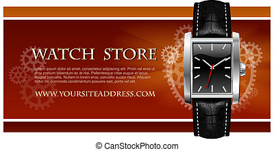 Watch Store Card vector - Watch Store Card with men's watch...