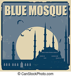 Blue Mosque poster - Blue Mosque vintage grunge poster,...