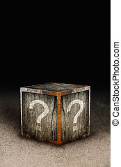 Mystery box - Wooden mystery box with question marks