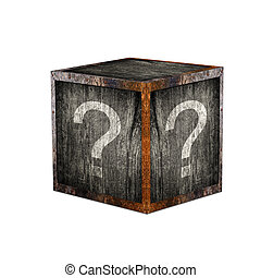 Mystery box - Wooden mystery box with question marks.
