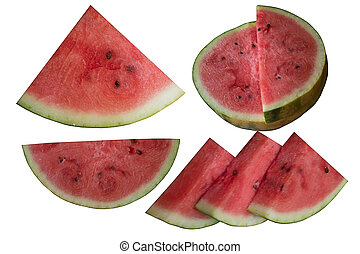 Water-melon on a white background - Baccate, Berry, Part,...