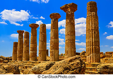 Stone columns of temple ruins in Agrigento, Sicily, Italy
