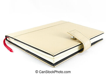 Brown diary on isolated background